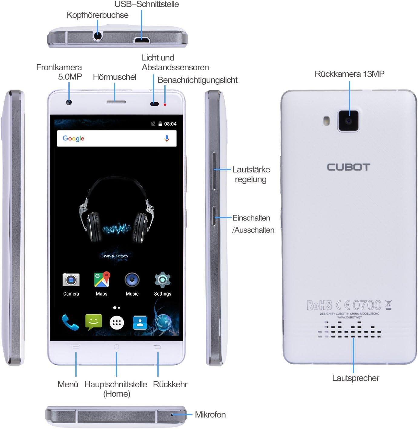 Cubot Echo 3 G Smartphone sin Contrato Teléfono Móvil, 5.0 pulgadas HD IPS pantalla táctil con batería de 3000 mAh, Android 6.0, 2 GB RAM + 16 GB ROM, procesador Quad-Core, Dual