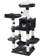 FEANDREA Cat Tree Condo with Scratching Post Kitty Tower Furniture Pet Playhouse, Dark Gray UPCT85G