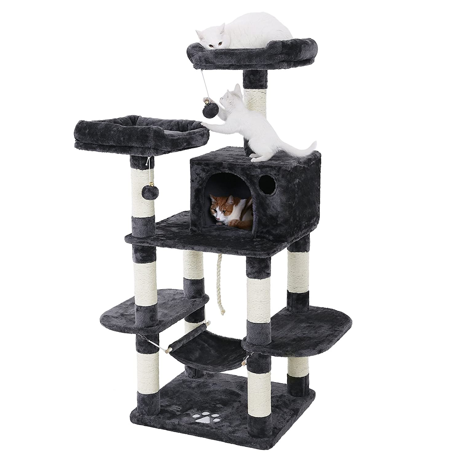 cb31fd5b061f Amazon.com : FEANDREA Multi-Level Cat Tree for Big Cats, Stable Cat Tower,  Gray UPCT85G : Pet Supplies