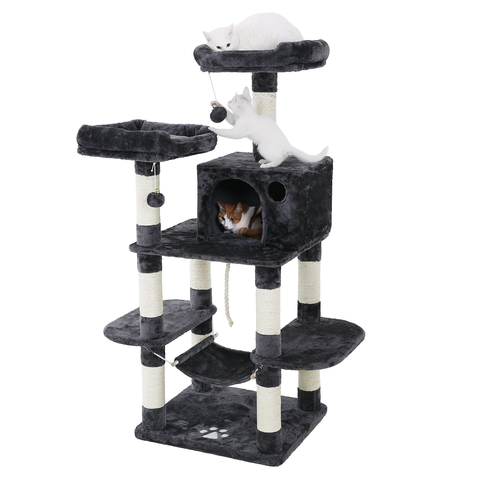 FEANDREA Multi-Level Cat Tree for Big Cats, Stable Cat Tower, Gray UPCT85G by FEANDREA