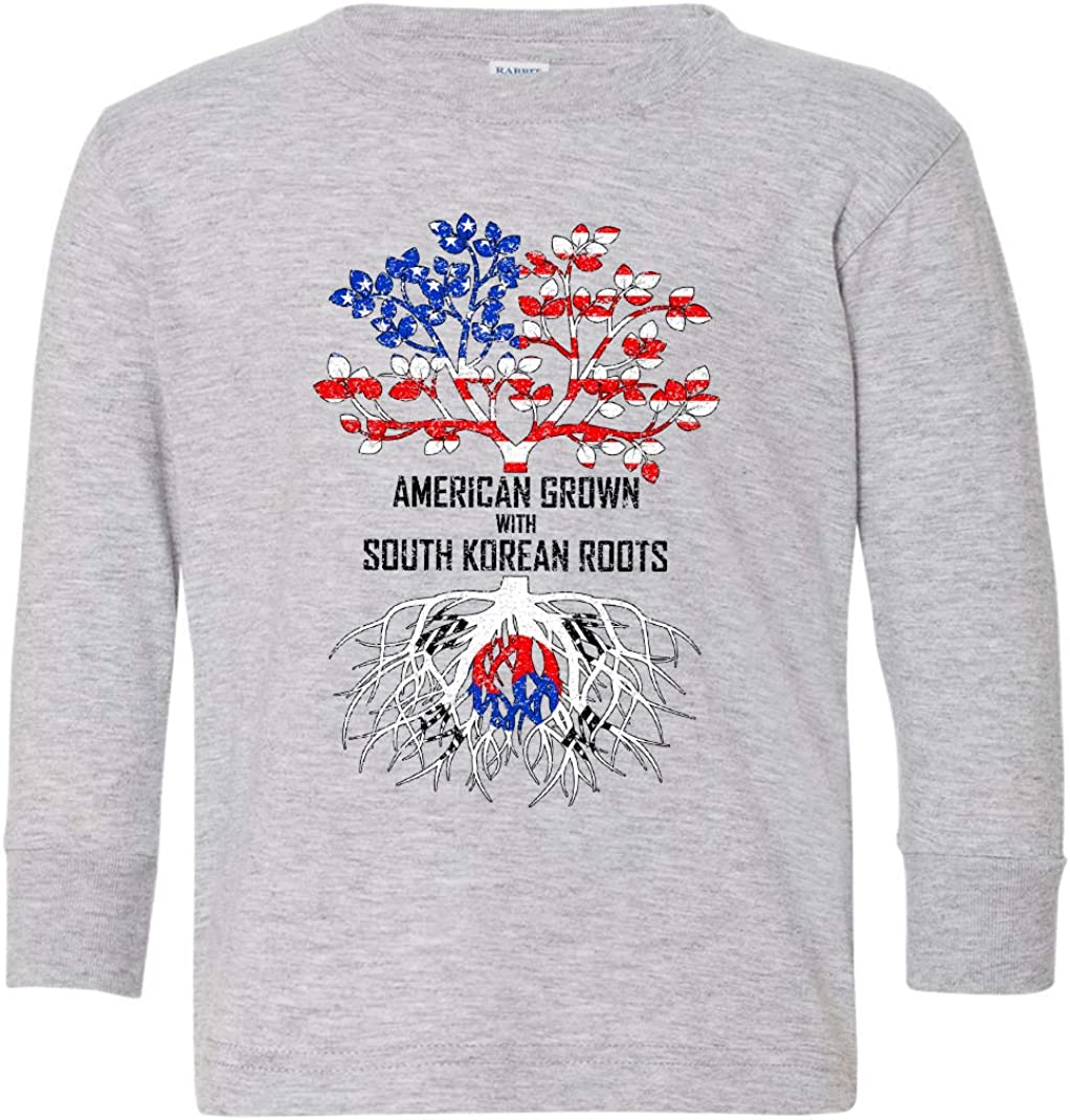 Tenacitee Toddlers American Grown with South Korean Roots Long Sleeve T-Shirt