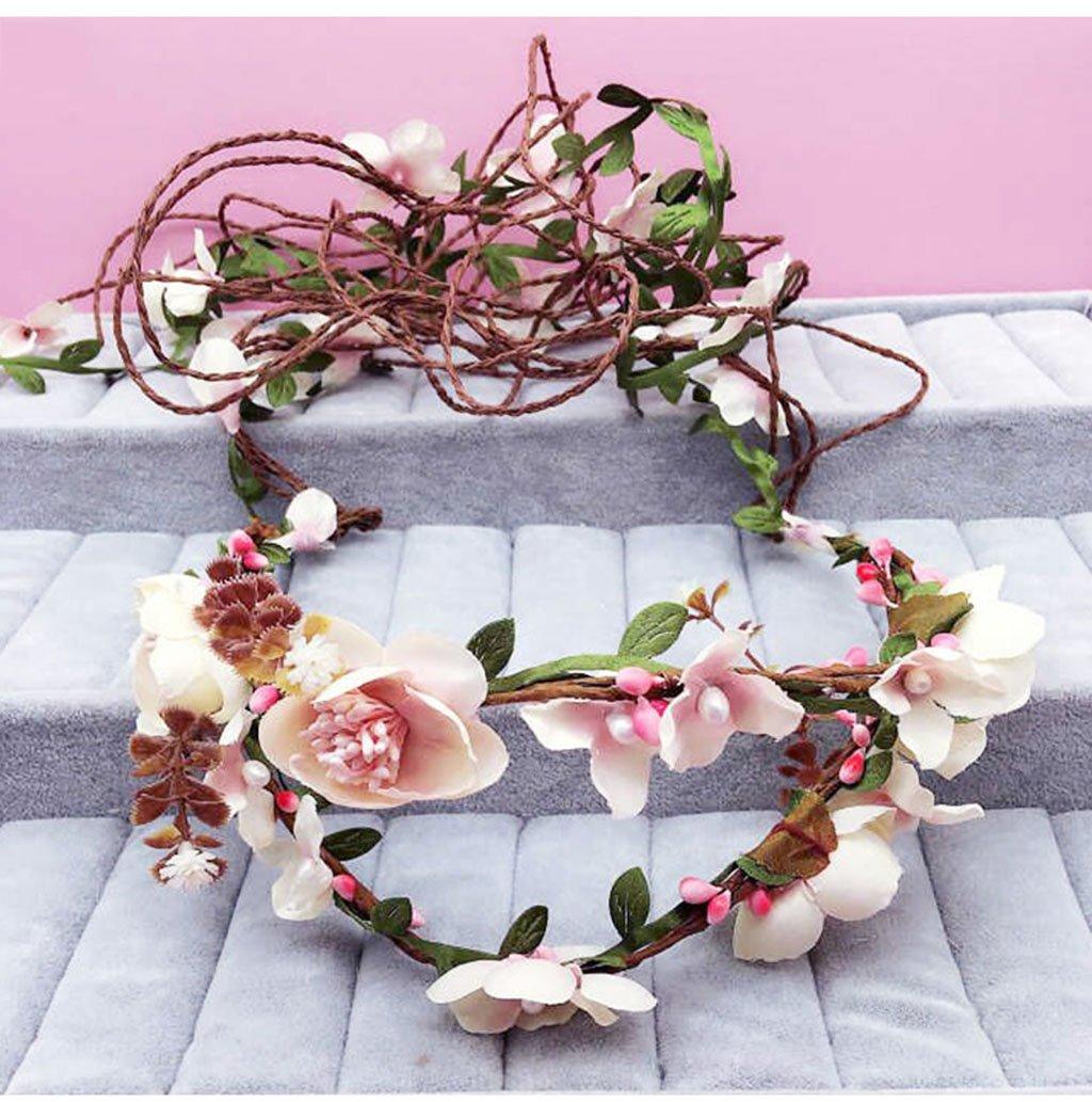 Wreath Flower, Headband Flower Garland Handmade Wedding Bride Party Ribbon Headband Wristband Hairband Bule (Color : E)