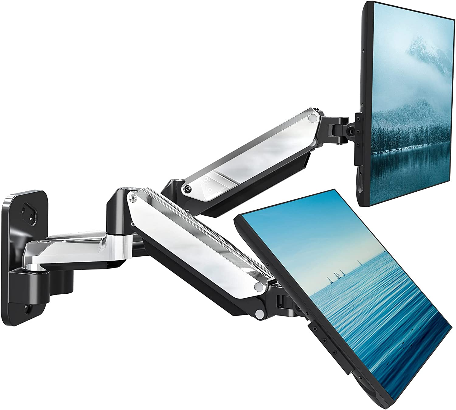 MOUNTUP Dual Monitor Wall Mount, Fully Adjustable Polished Aluminium Gas Spring Monitor Arm for 2 Max 32 Inch Flat Curved Computer Screen, Swivel Monitor Stand Hold 3.3-17.6lbs, Fit VESA 75x75&100x100