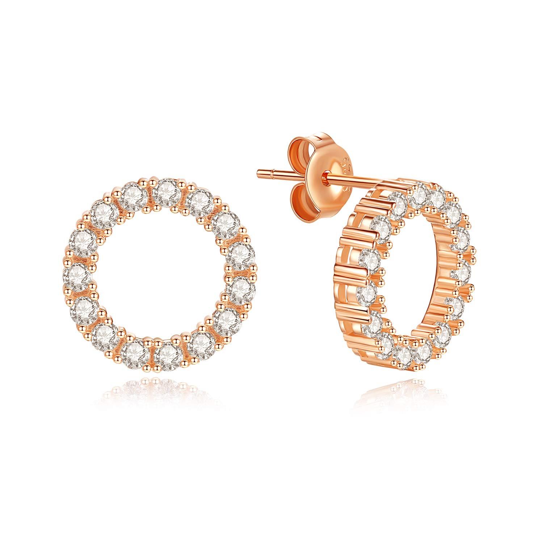 JORA Open Circle Earrings for Women CZ Minimalist Rose Gold Plated Sterling Silver Stud Earrings