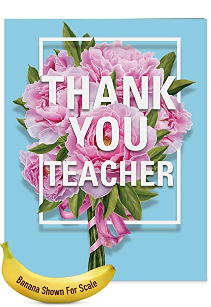 Amazon jumbo teacher thank you greeting card for teacher jumbo teacher thank you greeting card for teacher bold elegant graphics and peonies bouquet m4hsunfo