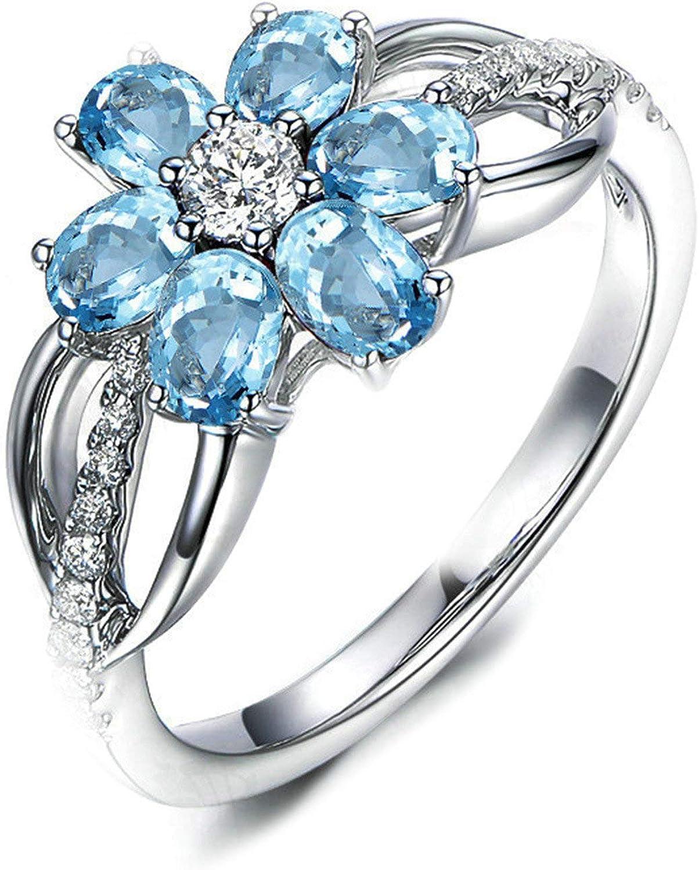 Beydodo Anillos Plata de Ley 925 Anillo Talla 6,75-25 Anillo Flor Mujer Oval Cut Anillo de Topacio Azul