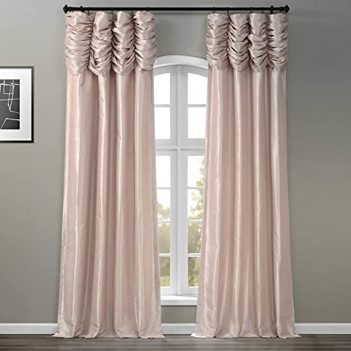HPD Half Price Drapes PTCH-130907-120-RU Ruched Faux Solid Taffeta Curtain 1 Panel