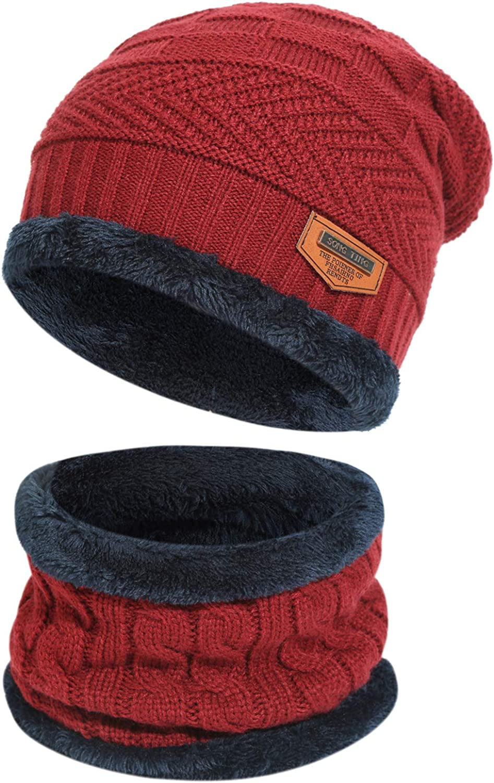 Men's 2-Pieces Winter Beanie Hat Scarf Set Warm Knit Hat Thick Fleece Lined Winter Cap Scarves for Men Women