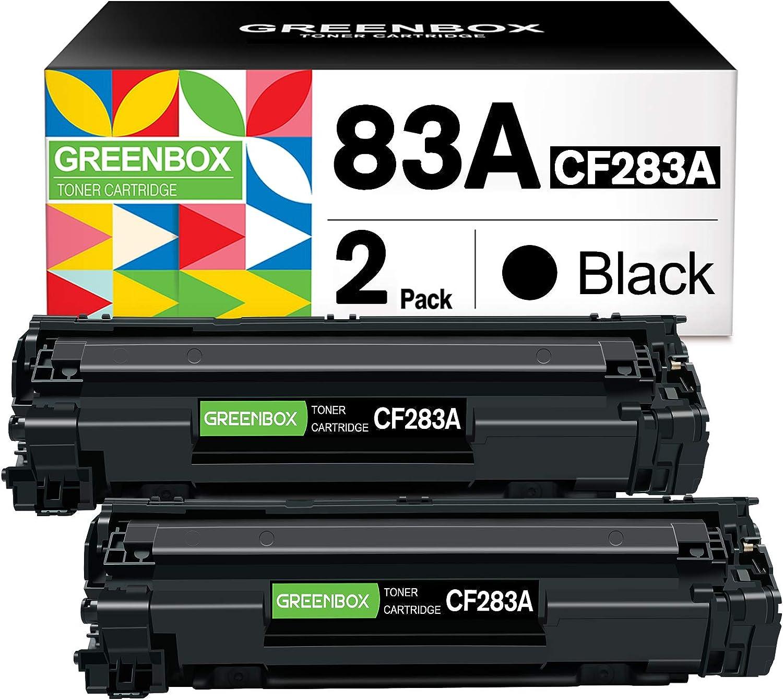 GREENBOX Compatible Toner Cartridge Replacement for HP 83A CF283A CF283AD for HP Laserjet Pro MFP M125nw M125a M127fn M127fw M202dw M225dw M225dn M201dw Printer (2 Black)
