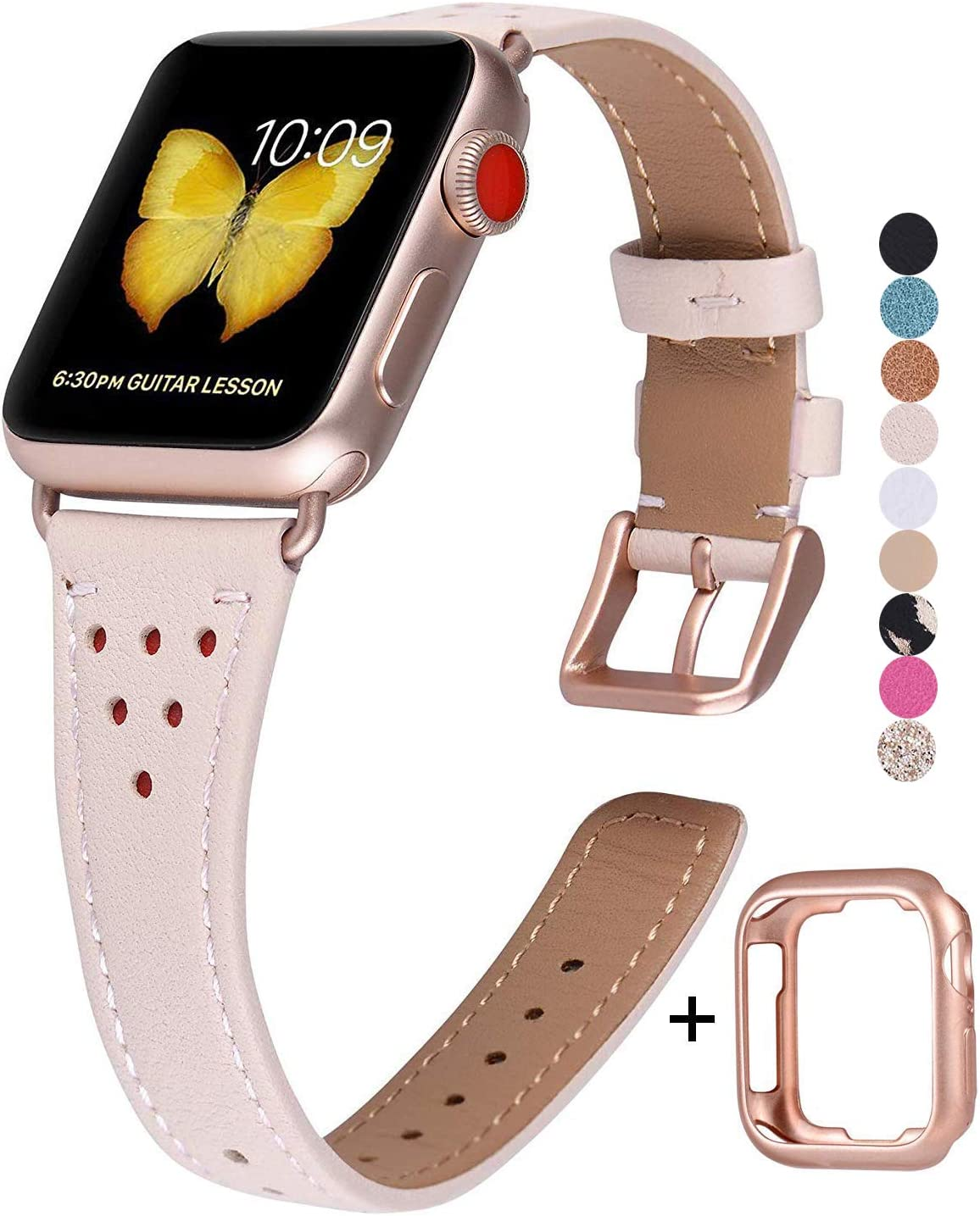JSGJMY Genuine Leather Band Compatible with Apple Watch 38mm 40mm 42mm 44mm Women Slim Thin Strap for iWatch Series 5/4/3/2/1(Pink Sand,38mm/40mm S/M)