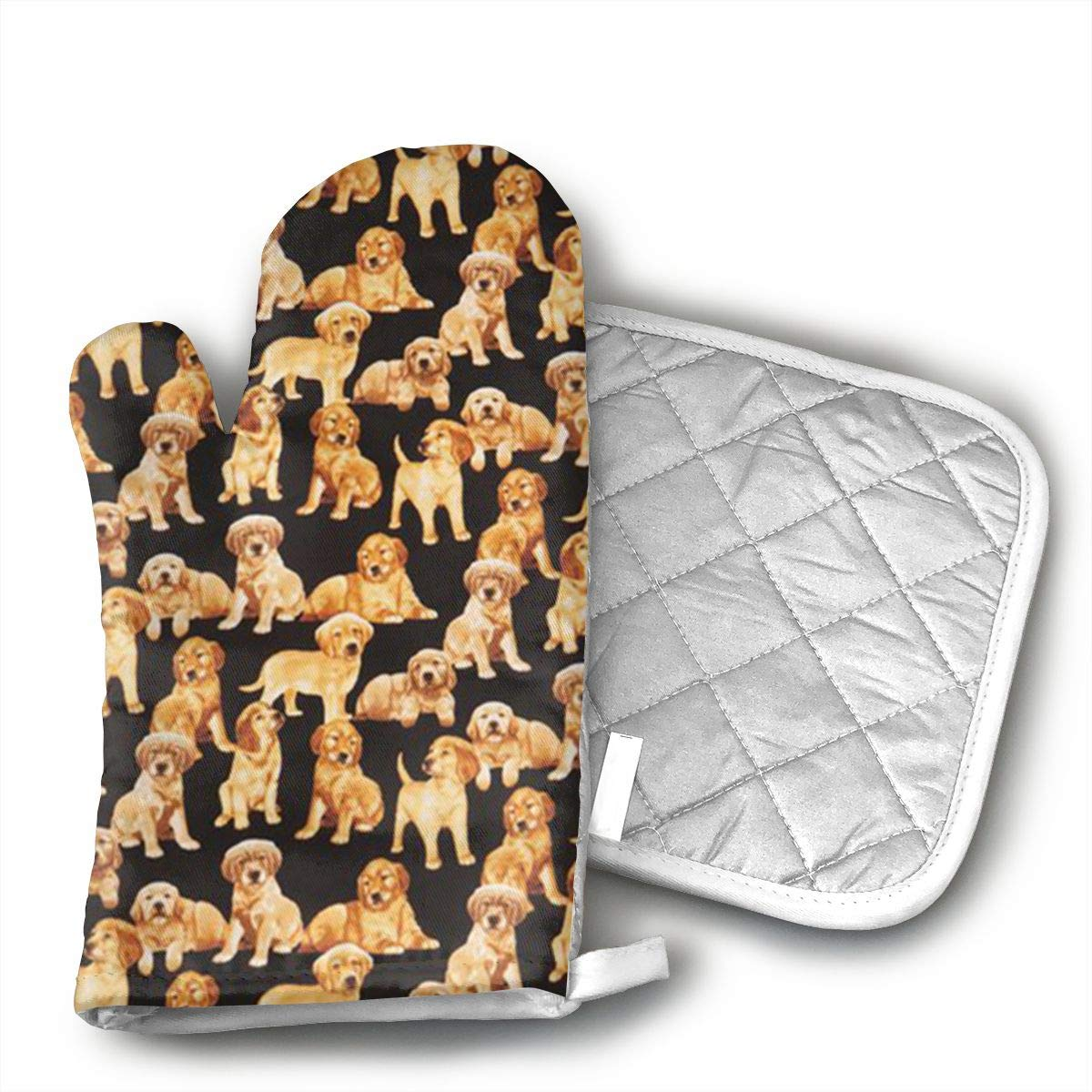 Ksiwo Black Golden Retriever Dog Puppy Oven Mitts and Pot Holders Heat Resistant Gloves to Oven Gloves for Safe BBQ Cook Baking Grilling