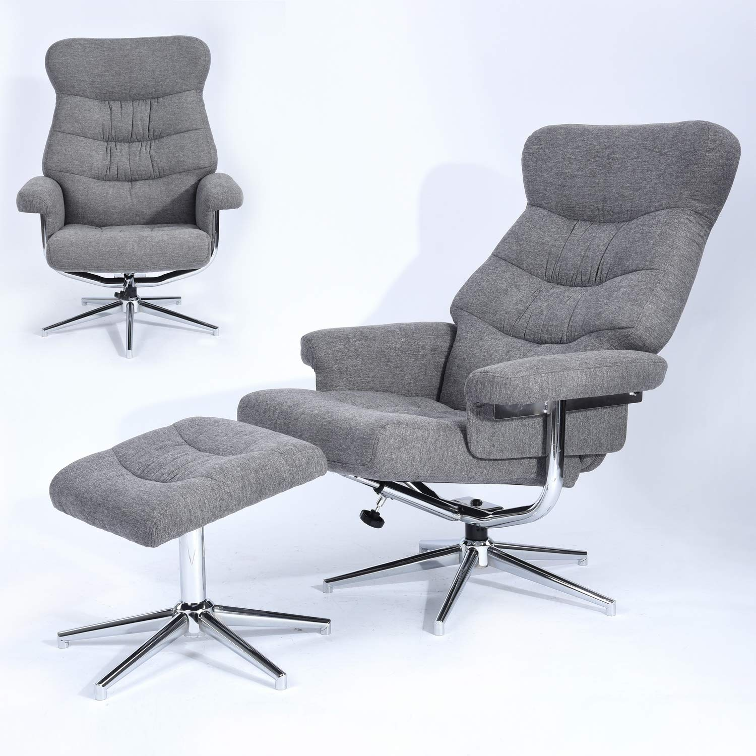 Homy Casa Swivel Recliner and Ottoman Chair Fabric Lounge Armchair Set Leisure Seat with Foot Stool and Chrome Finished Base,Grey