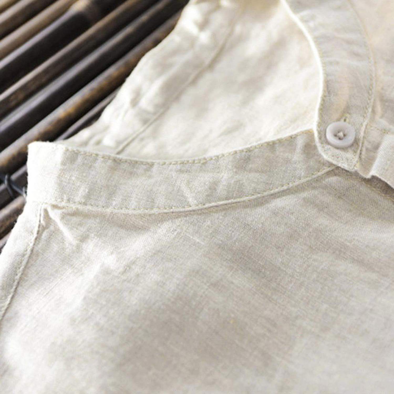 Summer Men Casual Shirt Tops Mens Baggy Cotton Linen Solid Color Short Sleeve Retro Shirts