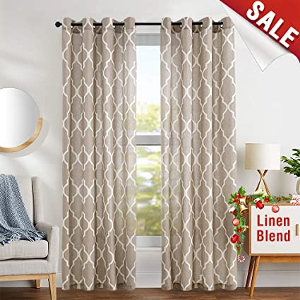 amazon com print curtains 95 inch moroccan tile flax linen look