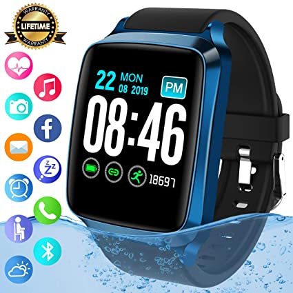 Smart Watch,Bluetooth Smartwatch Sports Fitness Watch Activity Tracker with Heart Rate Blood Pressure Monitor IP67 Waterproof Fitness Tracker Smart ...