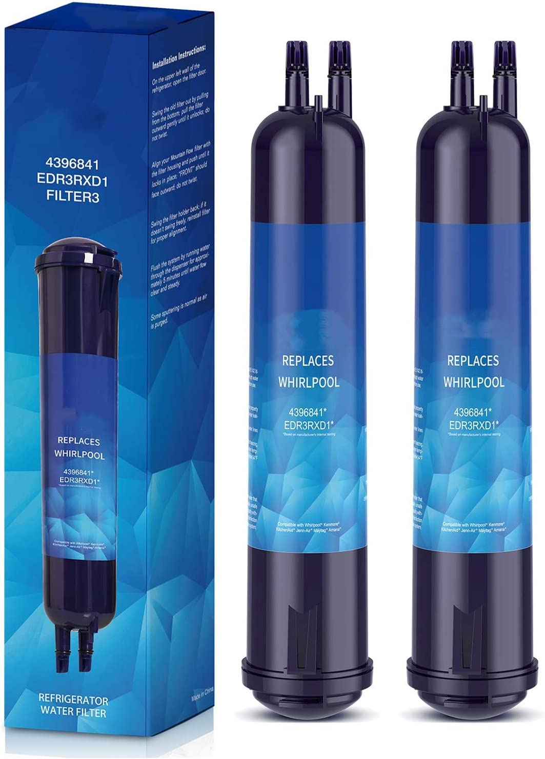 Replacement, Compatible with(2 Packs) Refrigerator Water Filter For FILTER 3 Kenmore 9083 Compatible with 9030 46-9030 Kenmore 469083 Water Filter for Kenmore 9030 Water Filter(2 Packs)