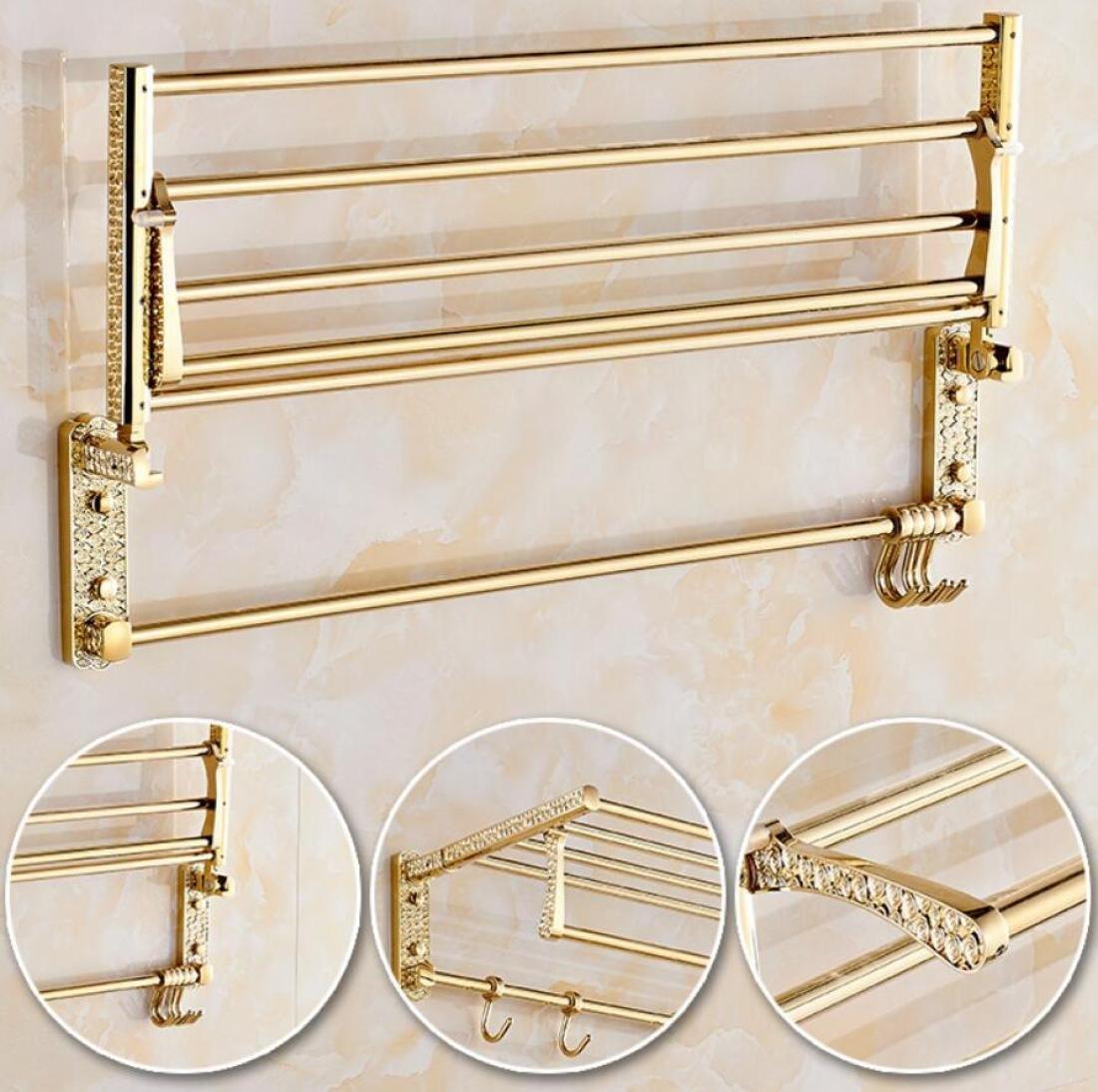 GL&G European Luxury Gold Copper Bathroom Bath Towel Rack Double Towel Bar Bathroom Storage & Organization Holder Towel Bars Wall Mount Bathroom Accessories Bath Wall Shelf Rack,6023.513.5cm by GAOLIGUO (Image #3)