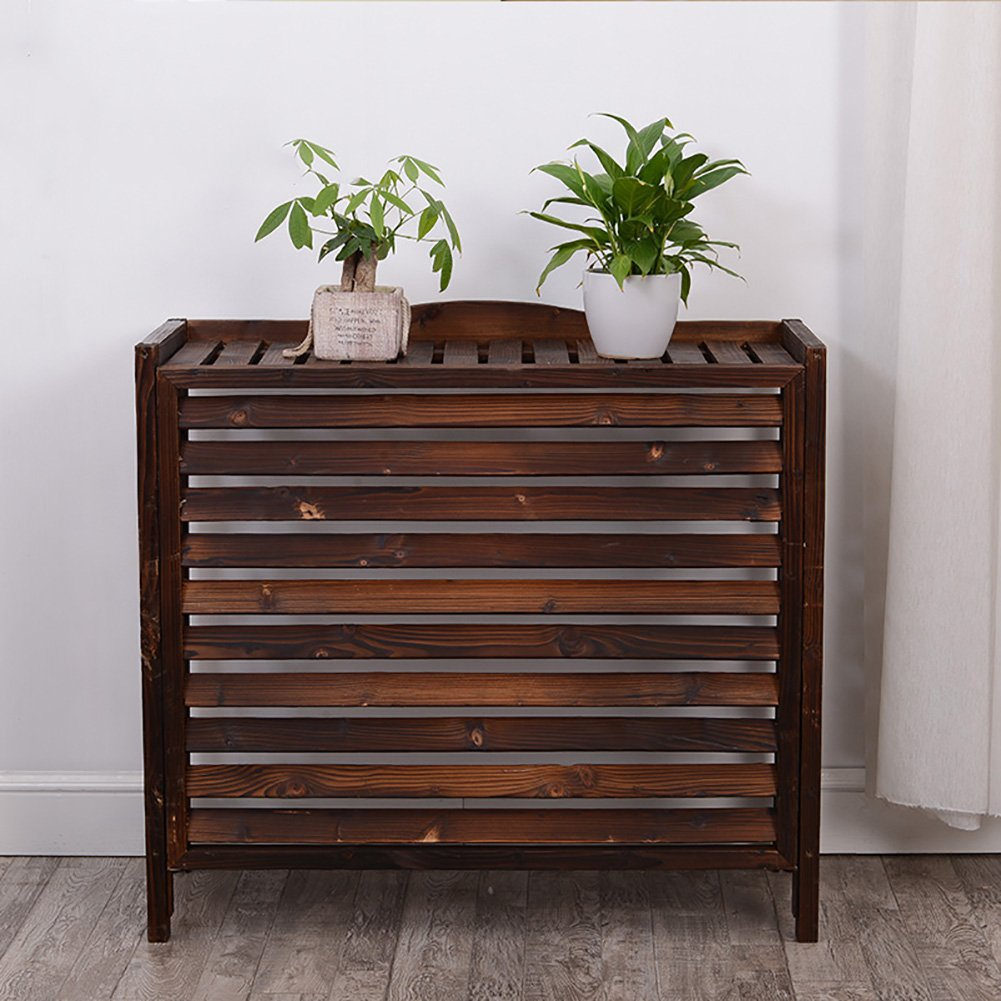 WSSF- Anti-corrosion Carbonized Wooden Flower Rack Gardening Workstation Storage Flower Pot Shelf Plant Radiator Cover Display Stand Solid Wood Outside Air Conditioner Cover (Size : 86*35*80cm)