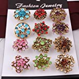 USIX Pack of 12 Floriated Assorted Mini Sparkling Crystal Rhinestone Pearl Button Brooches Pin Embellishment Set for Wedding Bouquet Cake Dress Corsage Boutonniere DIY Decoration Style 1 Silver Pearl