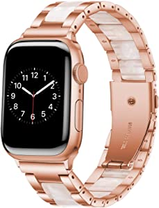 Wipalor Resin Stainless Steel Band Compatible with Apple Watch Band 38mm 40mm, Watch Bracelet Rose Gold for iWatch, Men and Women Replacement band for Apple Watch Series 6 5 4 3 2 1 SE (Pink Petals)