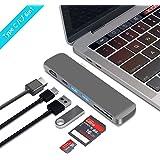 BHOMEA Type C ハブ 6in1 Macbook Pro 13/15インチ用 USB C ハブ アダプタ HDMI出力 4K対応 USB 3.0ポート*2 マルチ変換アダプタ 高速データ転送 SD&MicroSDカードスロット アルミニウム コンパクト 軽量MacBook 、Google、 Lenovo、Windows OS対応(グレー)