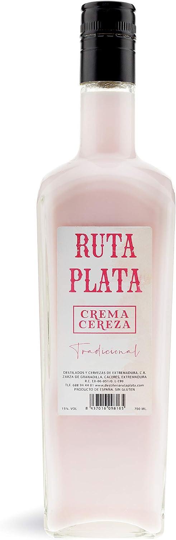 CEREX - Botella Crema de Orujo RutaPlata Extremeño - Botella de 70 cl - Crema de Orujo Tradicional - Ideal para Regalar - Ingredientes de alta calidad (Cereza)