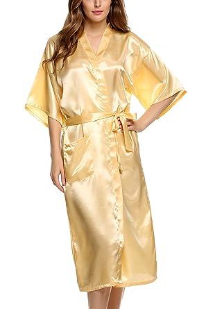 Cooshional Plus Size Long Satin Kimono Robe For Women Wedding