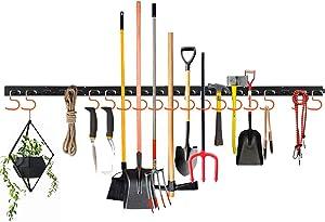 Adjustable Storage System 64 Inch, Wall Holders for Tools, Wall Mount Tool Organizer, Garage Hook, Garden Tool Organizer, Storage Hook,Tools Hanger with 4 Rails 16 Hooks (Orange)