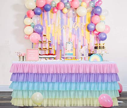 GewoneLife 6FT Rainbow Tulle Table Skirt Tutu Table Clothing for Stage Performance Birthday Baby Shower Party Decoration,Unicorn Table Skirt for ...