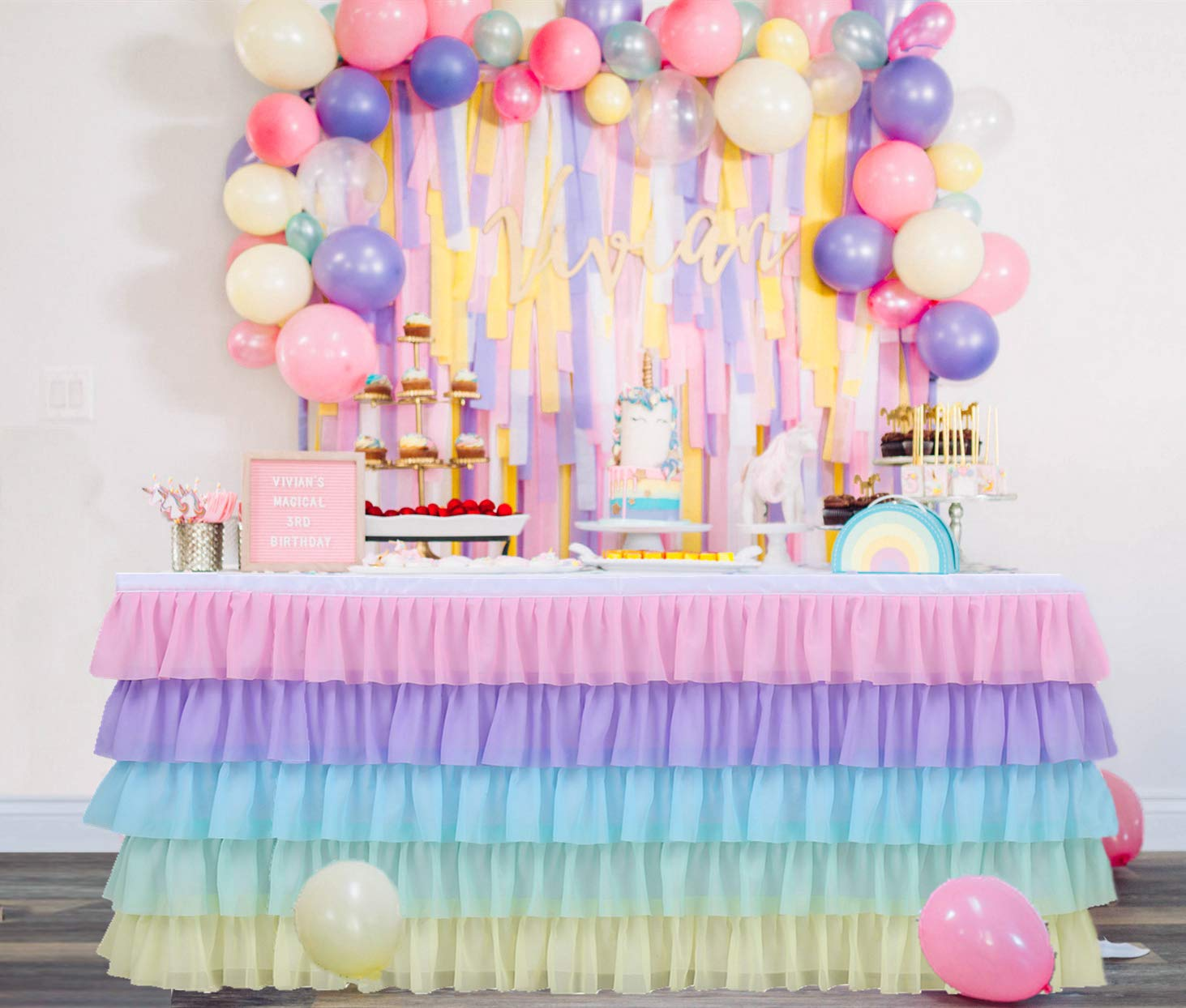 6FT Rainbow Tulle Table Skirt Tutu Table Clothing for Stage Performance Birthday Baby Shower Party Decoration,Unicorn Table Skirt for Rectangle and Round Tables.
