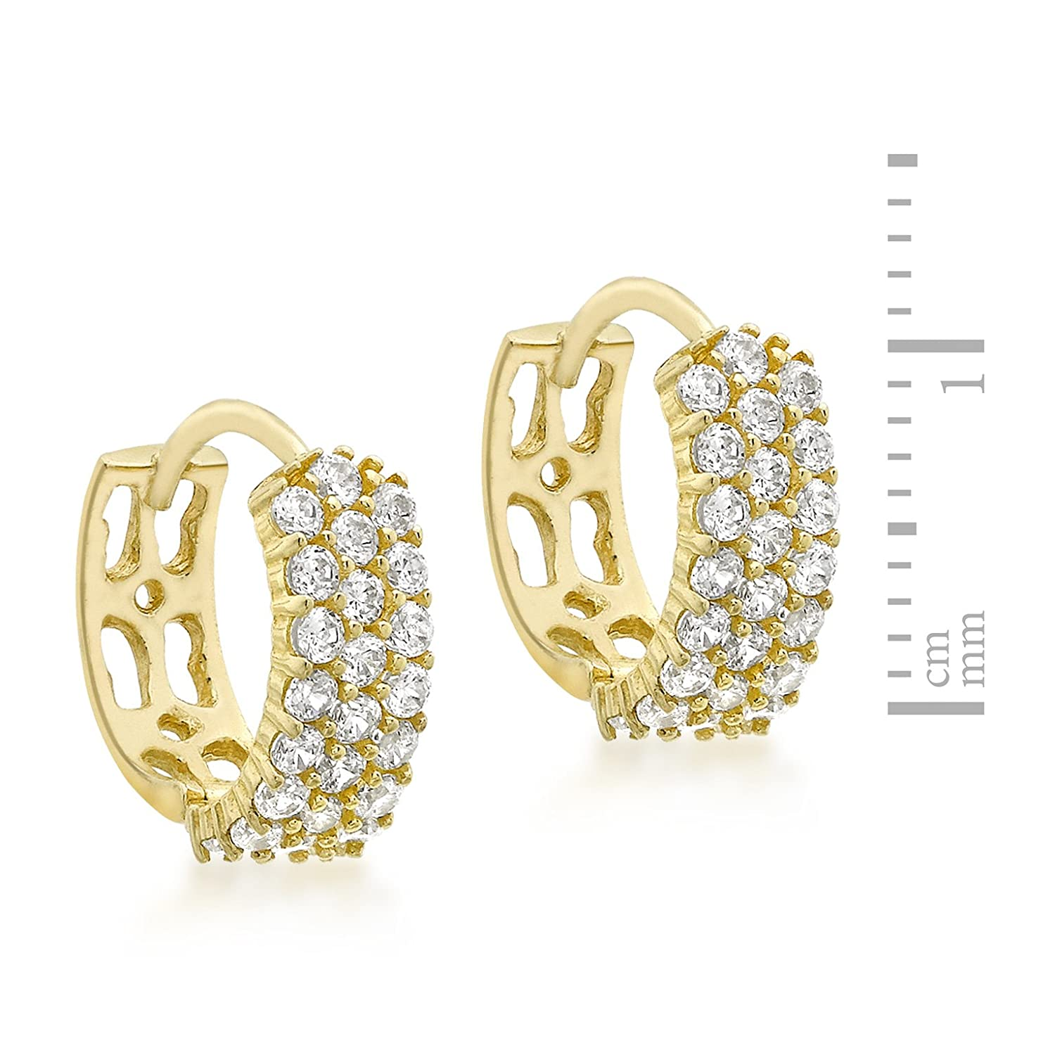 68eb1aeb9 Carissima Gold 9ct Yellow Gold 12mm Cubic Zirconia Pave Set Huggy Earrings:  Amazon.co.uk: Jewellery