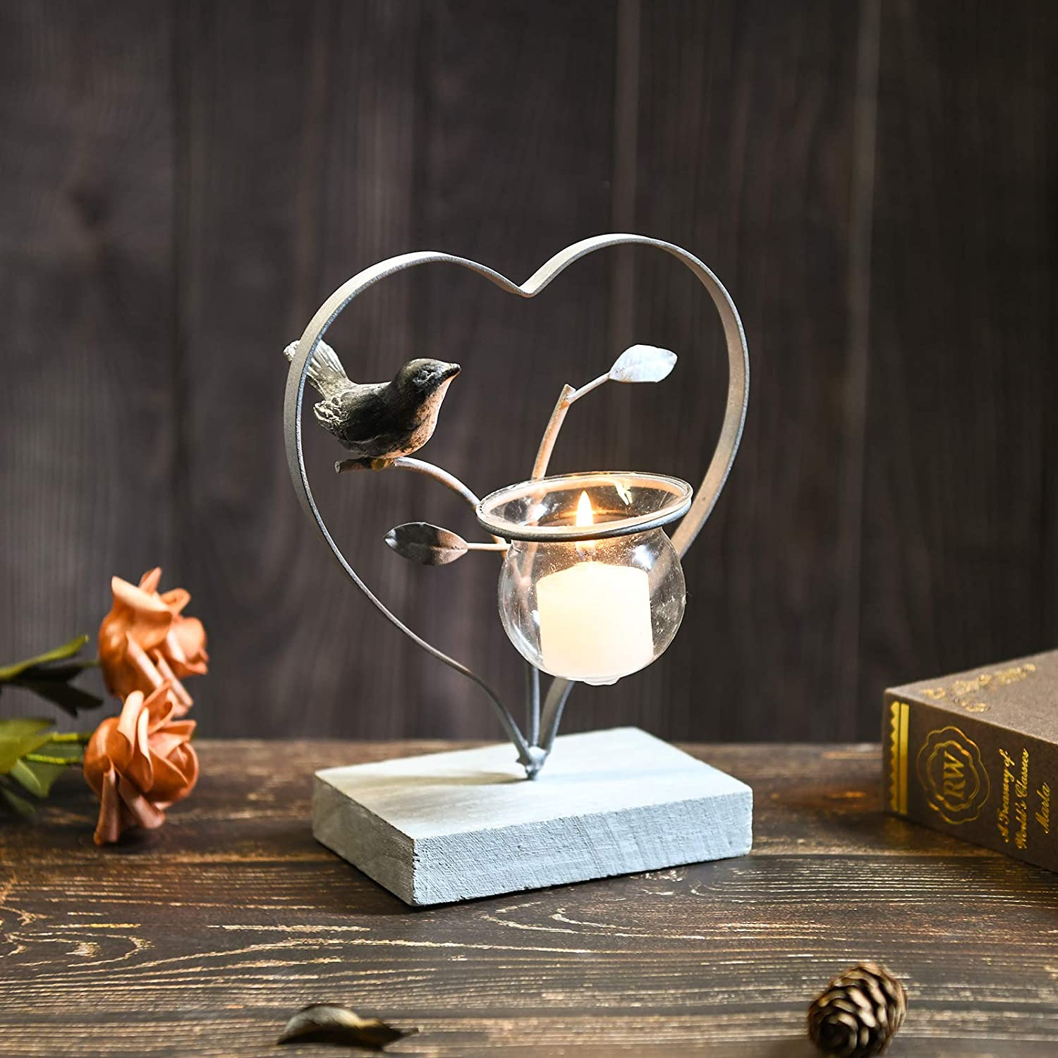 Marbrasse Votive Candle Holders, Vintage Home Decor Centerpiece, Iron Branches, Heart Shaped Resin Bird, Wood Base Tabletop Decorative TeaLight Candle Stands (Grey)