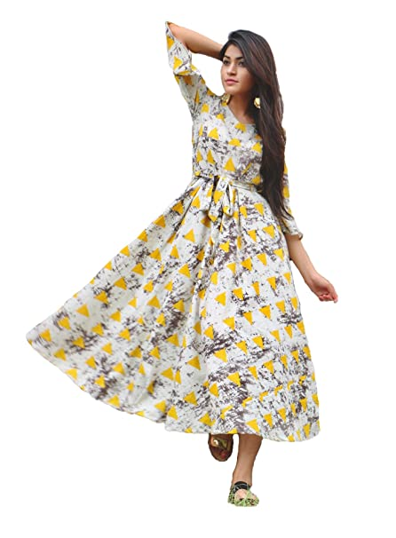 Royal Export Women s Cotton Printed Party Wear Dress  Amazon.in  Clothing    Accessories 66dfffb82