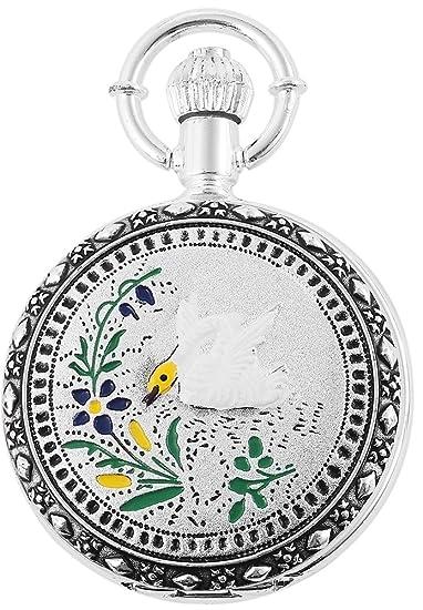 Reloj de bolsillo Blanco Plateado Ganso Blume Flor Analógica Metal Cuarzo: Amazon.es: Relojes