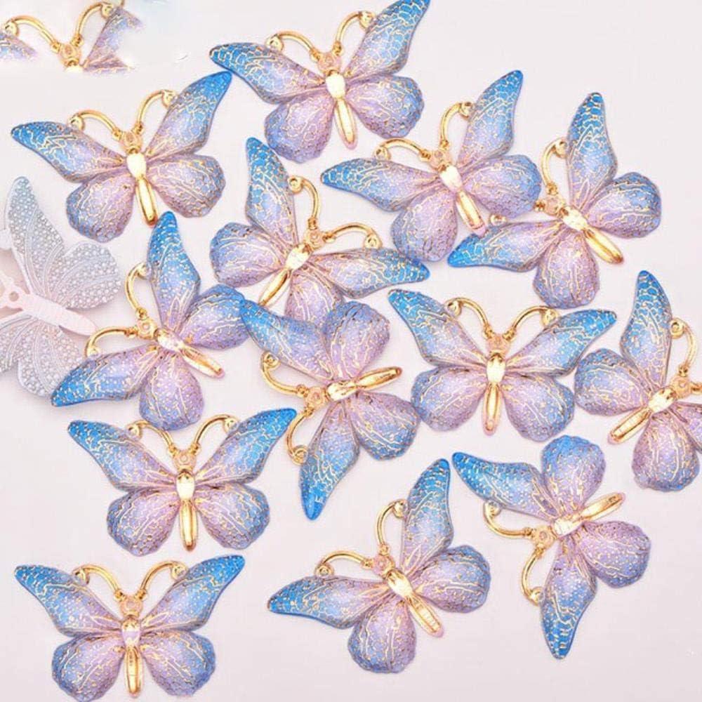 PENVEAT 25x38mm Costura Rosa Color Mariposa Grande Piedras Apliques Gemas de Espalda Plana Coser en Piedras Cristal de Strass Manualidades, Azul Rosa Claro