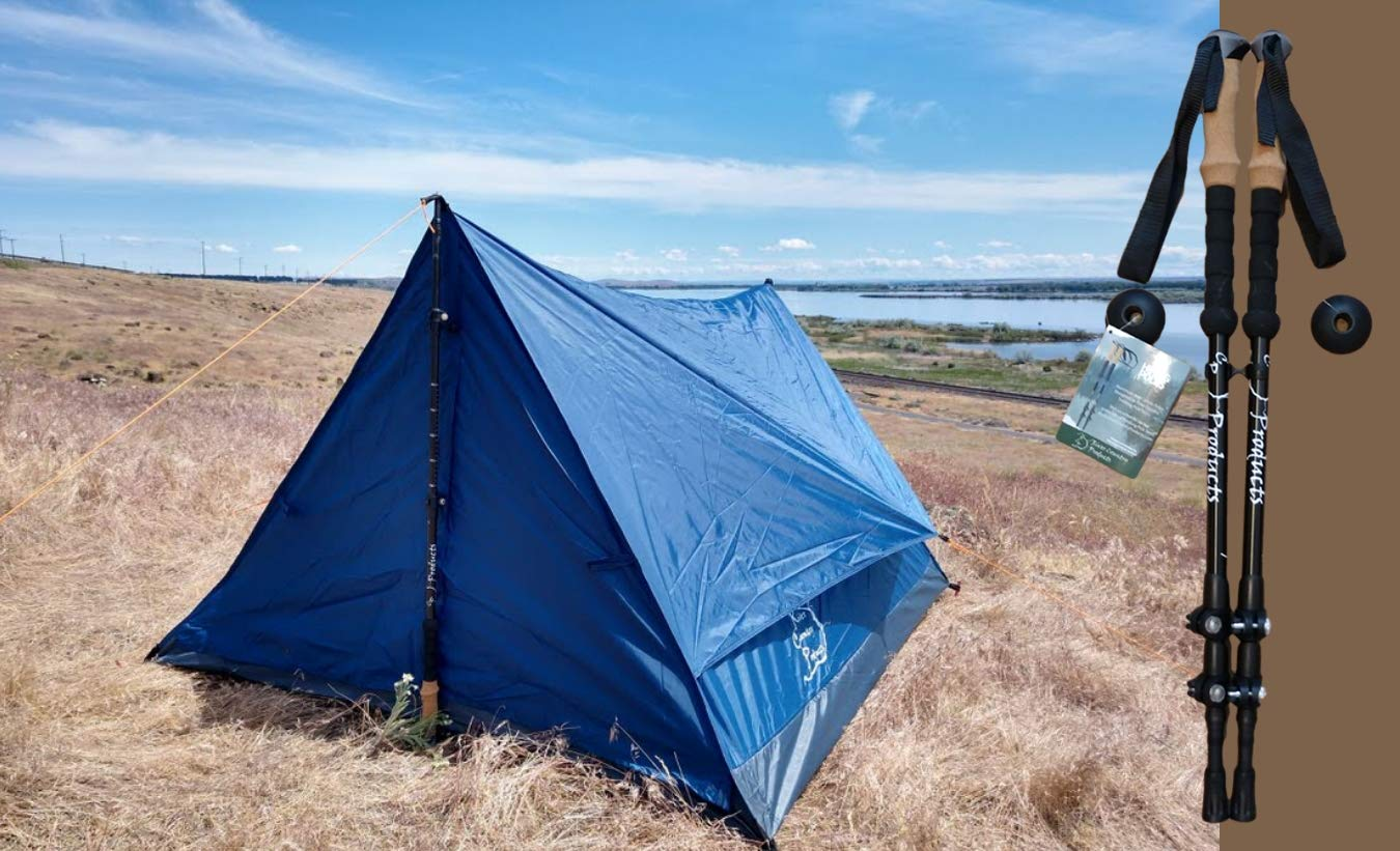 River Country Products Trekker Tent 2.2 Combo with Trekking Poles, Two Person Trekking Pole Backpacking Tent with Trekking Poles - Blue by River Country Products