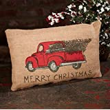 Red Truck Tree Holiday Decor Vintage Burlap Accent Throw Pillow  Cover 8 x 12 Inches