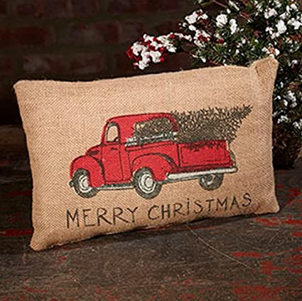 red truck tree holiday decor vintage burlap accent throw pillow cover 8 x 12 inches - Red Truck Christmas Decor