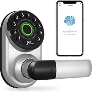ML300 Smart Lock, Keyless Entry Door Lock with Bluetooth, Biometric Fingerprint and Keypad, Smart Door Lock Works with Alexa Google Assistant, App Remote Control, Easy to Install for Homes Gift Choice