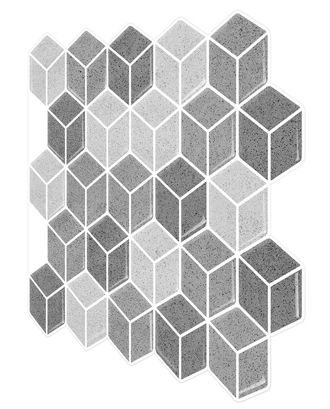 Tic Tac Tiles – Premium Anti Mold Peel and Stick Wall Tile Backsplash in Cube Design Grigio, 6