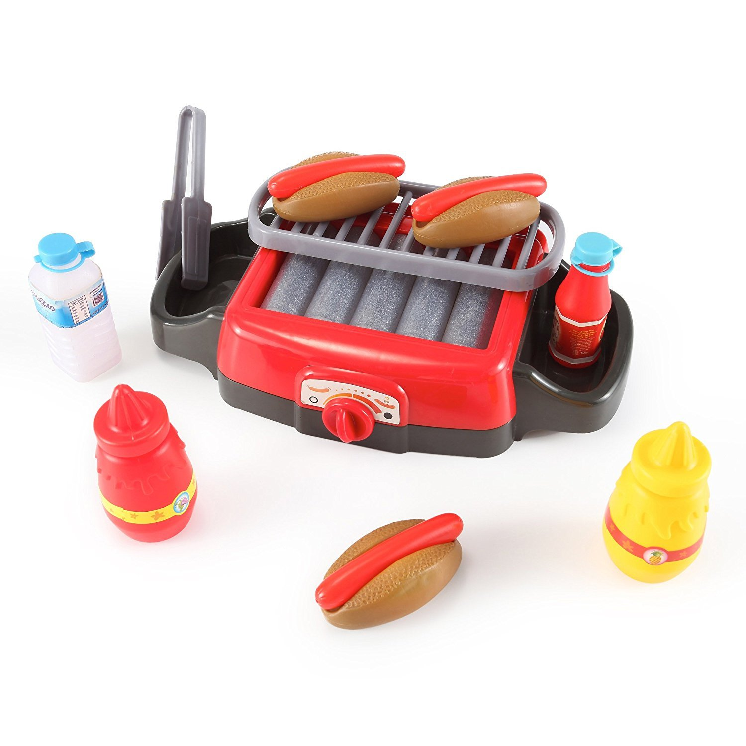 PowerTRC Hot Dog Roller Grill Electric Stove Play Food Kitchen Appliance Set for Kids