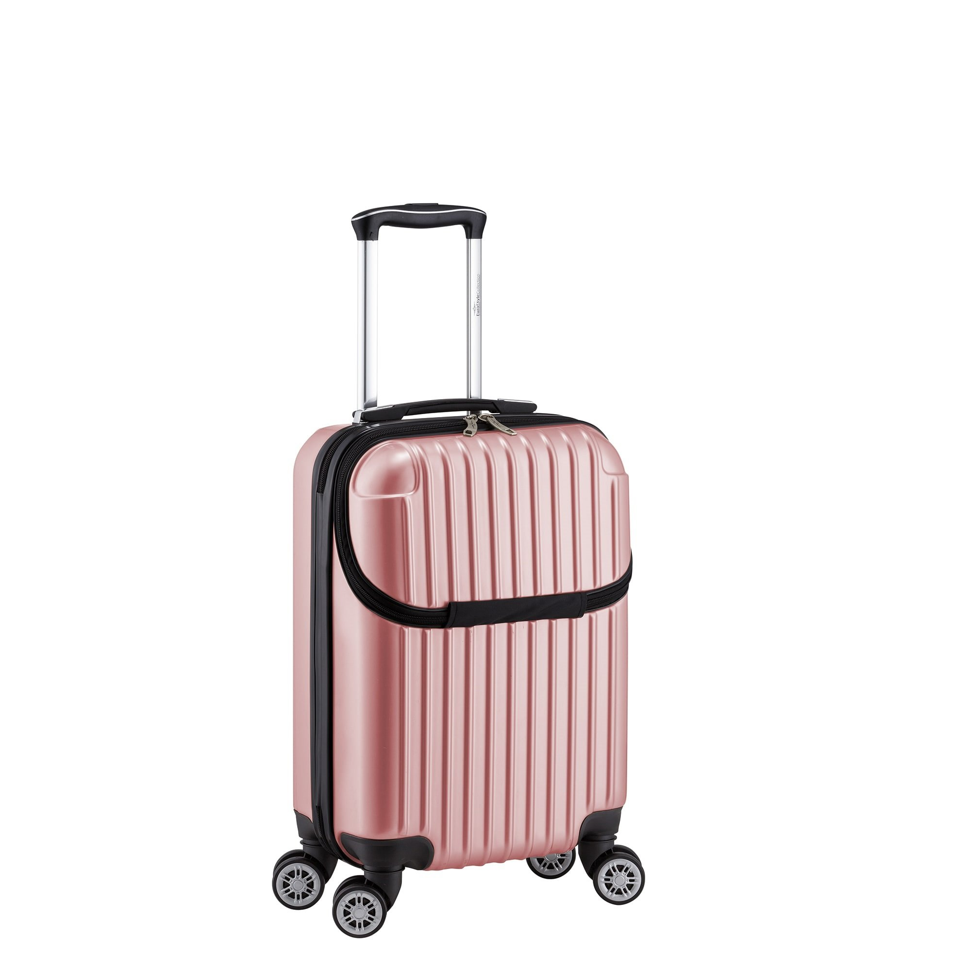Pastel Geometric Strips Themed Spinner Lightweight Expandable Carry On Luggage Suitcase, Graphic Vertical Stripes Pattern, Hardsided, Fashionable, Multi Compartment, Hard Travel Case, Pink, Size 22'' by S & E