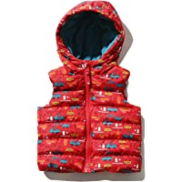 M&Co Baby Boy Sleeveless Red Transport Print Zip Front Padded Hooded Gilet
