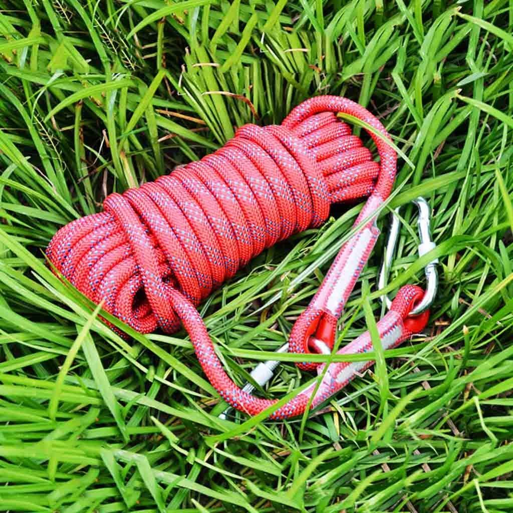 Rouge équipement d'escalade Corde auxiliaire for route de reliure extérieure de 10 mm de diamètre, tension statique en polypropylène 1200kg, corde d'escalade anti-escalade, corde anti-dérapante multiCouleure 10m