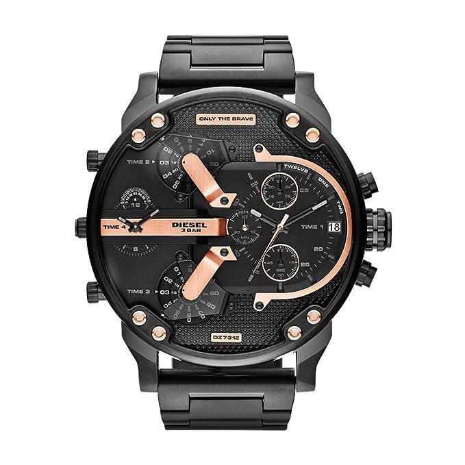 7e02a28d1e9f Diesel Reloj Analógico para Hombre de Cuarzo con Correa en Acero Inoxidable  DZ7312  Diesel  Amazon.es  Relojes