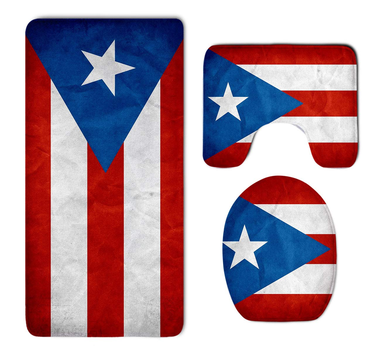 Amazon com homestores puerto rico flag bathroom 3 piece mat sets pedestal mat lid toilet cover bath mat doormat non slip rug garden outdoor