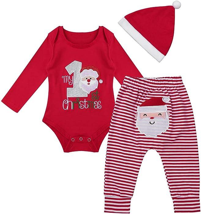 37be3f0a2b56d Ensemble Vêtements de Bébé Fille Garçon Mon 1er Noël Romper Barboteuse avec  Pantalon et Chapeau Père Noël Set Tenues Rouge Manches Longues 0-12 Mois