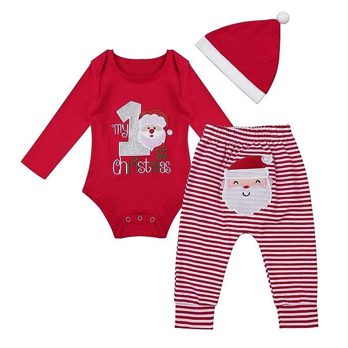 dPois Traje de Navidad Manga Larga para Bebé Niño Niña Mi Primera Navidad Disfraz de Papá Noel Bordado Pelele Unisex Mameluco Body Pantalones Rayas Gorro ...