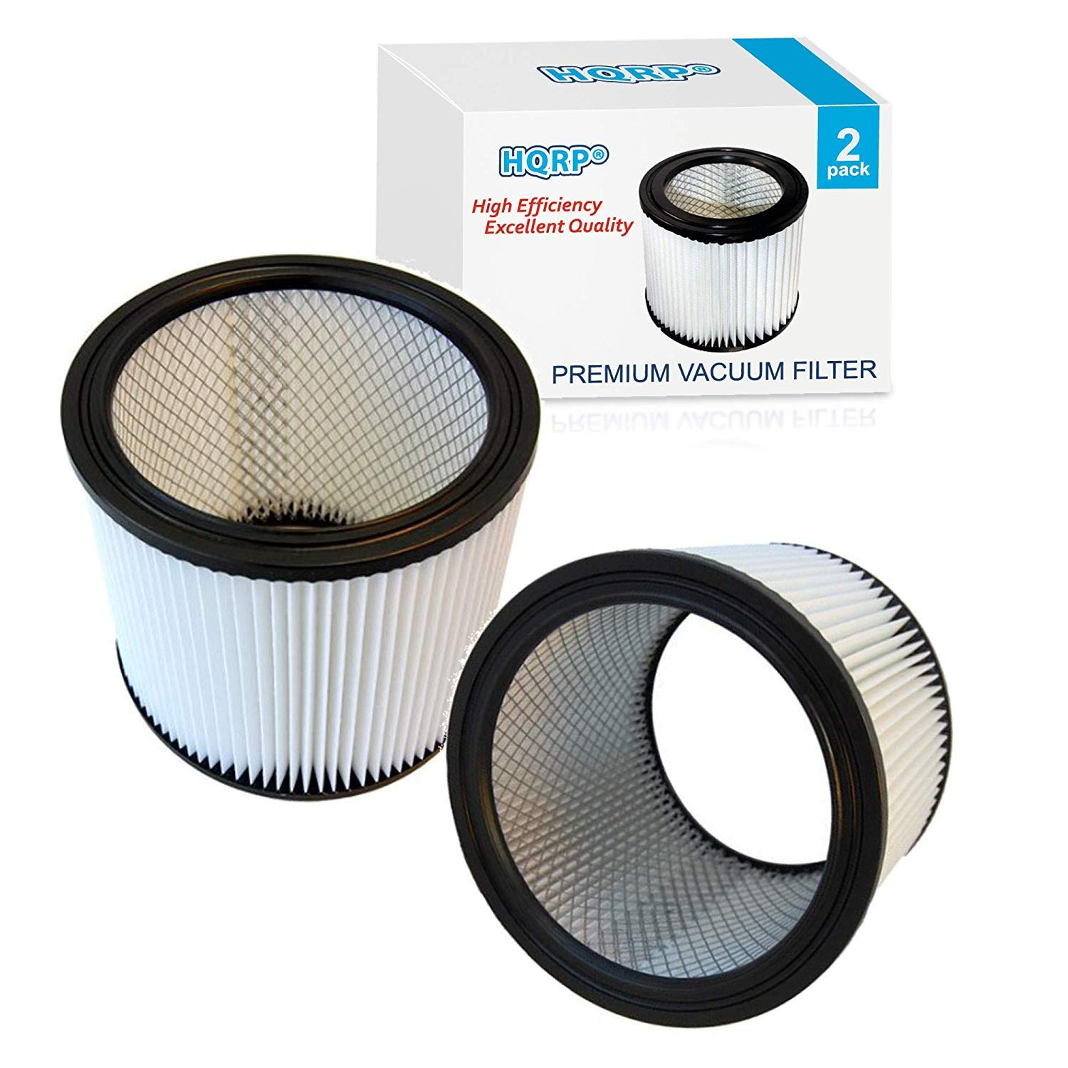 HQRP Cartridge Filter 2-Pack compatible with Shop-Vac 90350 90304 90333 Replacement fits most Wet/Dry Vacuum Cleaners 5 Gallon and above by HQRP