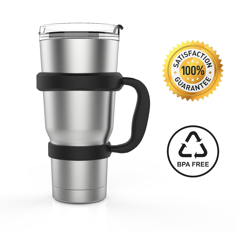 SET COMPLETO PER LA TUA COLAZIONE CON CAFFÈ: Tazza Termica in Acciaio Inox, 1 cannuccia in acciaio inossidabile + 1 manico robusto + 1 spazzola di pulizia. Bottiglia Portatile da viaggio para Tè / Caffè / Acqua, Privo di BPA Three Green Moles